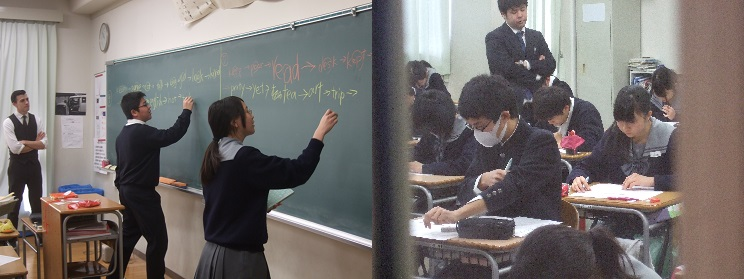 2年2組の英語は光川先生とジョセフ先生。5年1組の英語は演習中だったので、廊下からパチリ。