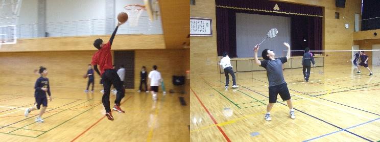 バスケットボール部とバドミントン部です。
