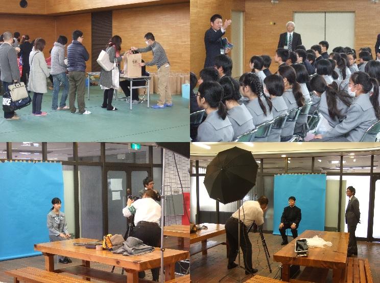 全体会後、保護者の皆さんは副教材やカバン等の購入を、新入生は写真撮影や入学式の練習、春期課題の返却をしました。