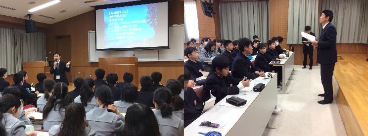 その後、聖心ホールで教務部長や生徒部長から中学校や高校での学習、生活について説明を受けました。